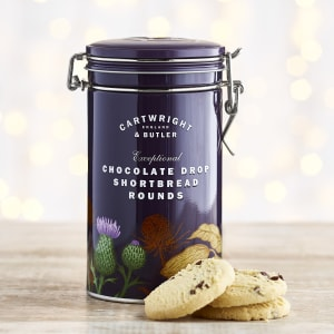 Cartwright & Butler Chocolate Drop Shortbread Rounds in Gift Tin, 200g
