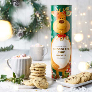 Chocolate Chip Biscuits in Reindeer Gift Tube, 300g
