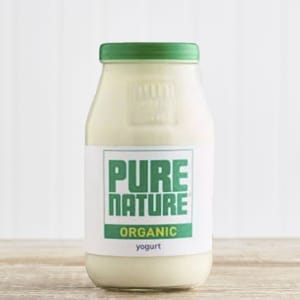 Pure Nature Organic Natural Yoghurt in Glass, 500g